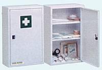 Verbandschrank 1-türiger Stahlblechschrank, 2 Einlegeböden, Sicherheitsschloss, perlweiß, leer