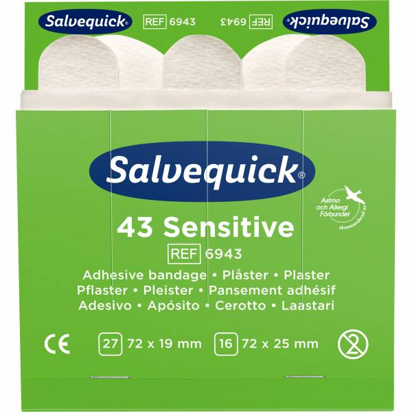 Salvequick Refill 6943, 43 Stk Pflasterstrips Vlies sensitive