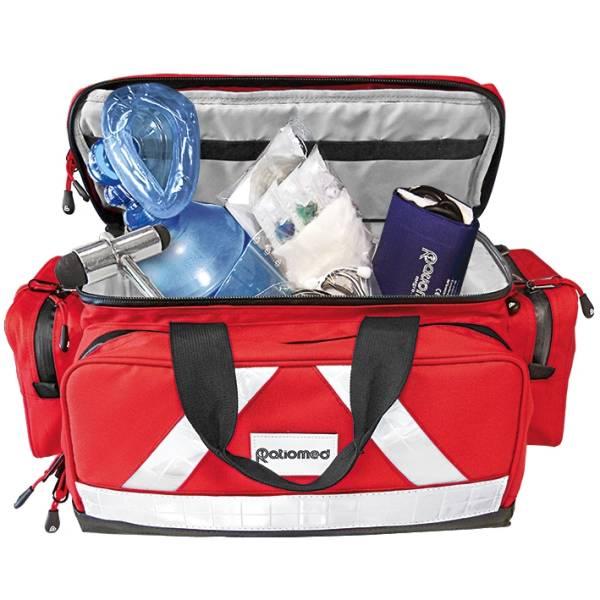 Notfalltasche gefüllt mit 3 Sets: Infusion - Instrumente - Beatmung