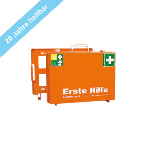 Söhngen Erste Hilfe Koffer Typ 2, 20 Jahre Haltbarkeit der Sterilprodukte , orange mit Füllung ÖNORM