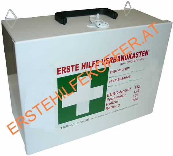 Erste Hilfe Koffer Metall, weiß, leer, Typ 1