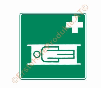 Rettungszeichen Krankentrage aus Kunststoff, 200 x 200 mm nachleuchtend