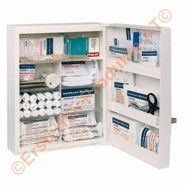Verbandschrank 1-türiger Kunststoffschrank, 7 Einlegeböden, Sicherheitsschloss, weiß, leer