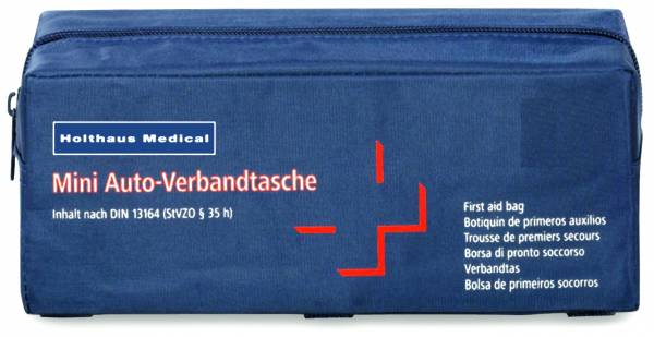 Mini Verbandtasche inkl. Füllung nach DIN 13164, blau