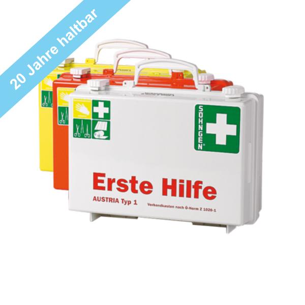 Söhngen Erste Hilfe Koffer Typ 1 weiss mit Füllung ÖNORM Z 1020-1, mit 20 Jahre haltbaren Sterilprod