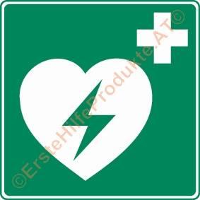 Rettungszeichen Defibrillator, 200 x 200 mm, nachleuchtend nach DIN 4844
