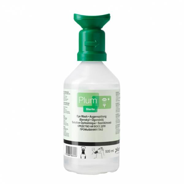 Plum Augenspülflasche gebrauchsfertig gefüllt mit 500 ml steriler Natriumchloridlösung 0,9%