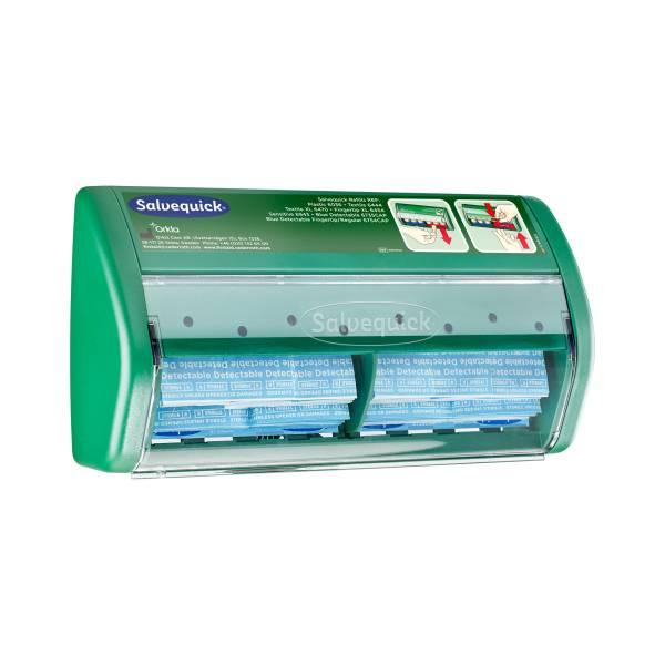 Salvequick Pflasterspender mit 70 detektierbaren, blauen Pflasterstrips