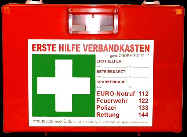 ERSTE HILFE KOFFER mit Koomplettfüllung ÖNORM Z1020 Typ 1