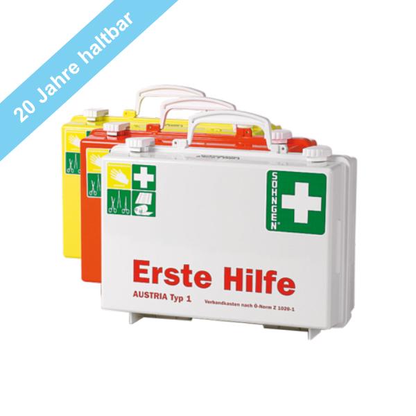 Söhngen Erste Hilfe Koffer Typ 1, mit 20 Jahre haltbaren Sterilprodukten* , orange mit Füllung ÖNORM