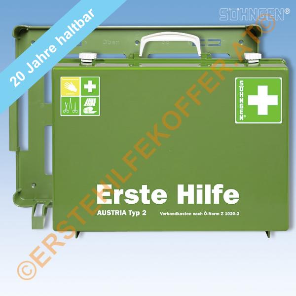 Söhngen Erste Hilfe Koffer Typ 2 grün mit Füllung ÖNORM Z 1020-2
