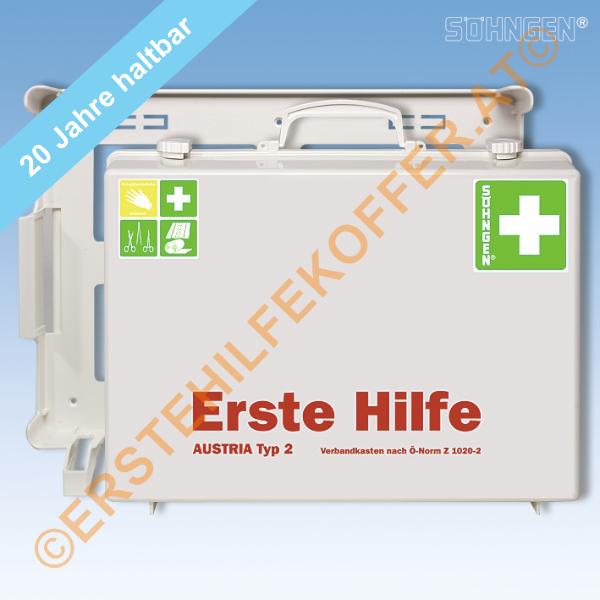 Söhngen Erste Hilfe Koffer Typ 2 weiss mit Füllung ÖNORM Z 1020-2, 20 Jahre Haltbarkeit der Sterilpr