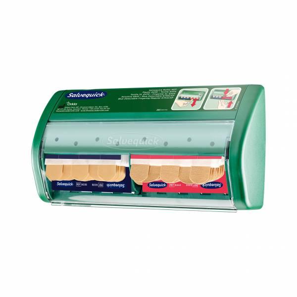 Salvequick Pflasterspender gefüllt mit 45 wasserfesten + 40 elastischen Pflasterstrips