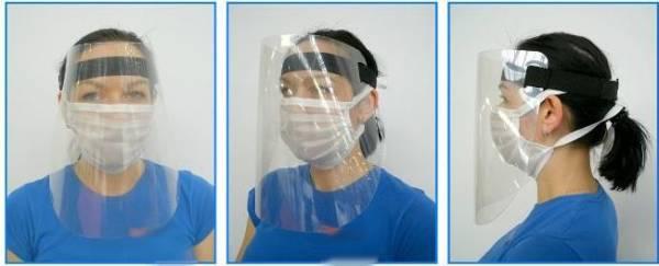 Gesichtsschutzschirm aus PET mit verstellbarem Gummizug