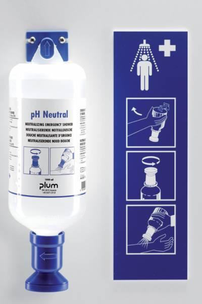 Plum pH Neutral Station mit Wandhalter und Piktogramm