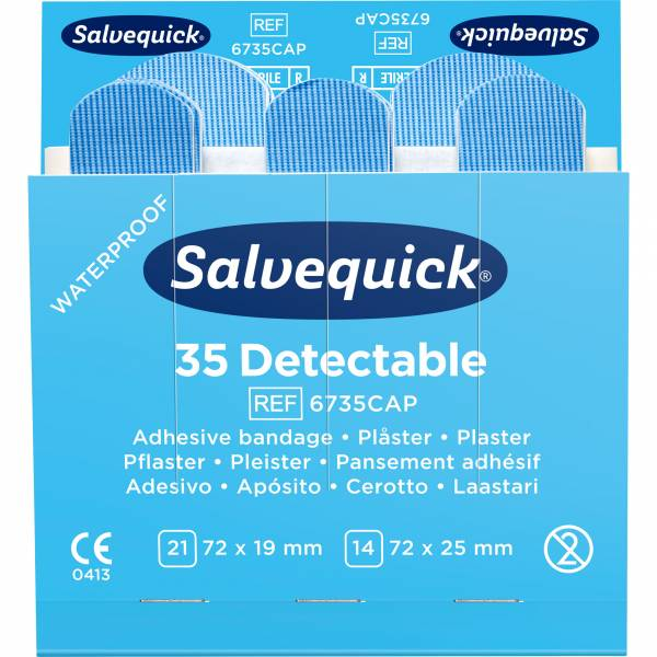 Salvequick Refill 6735CAP blau, detektierbar 35 Pflasterstrips
