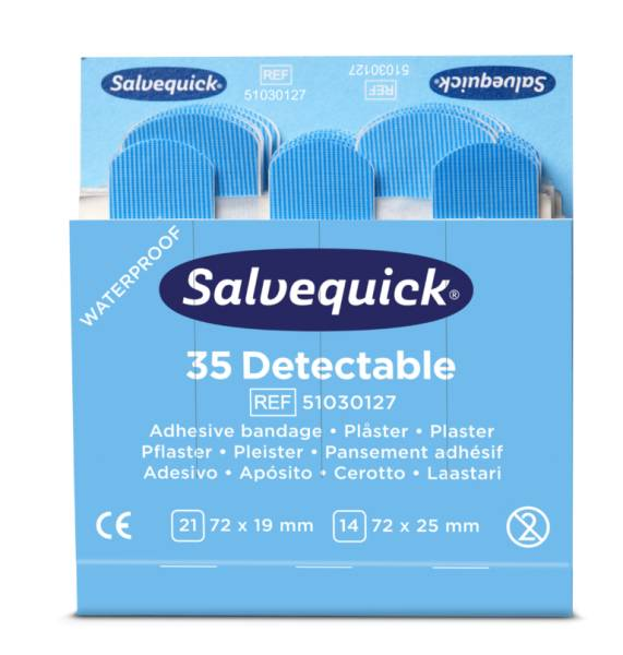 Salvequick Refill blau, detektierbar 35 Pflasterstrips, wasserfest