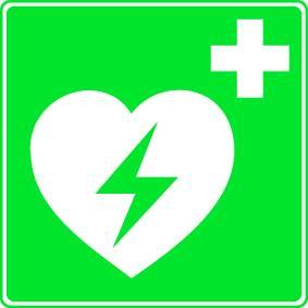 Rettungszeichen Defibrillator aus Kunststoff 200x200 mm