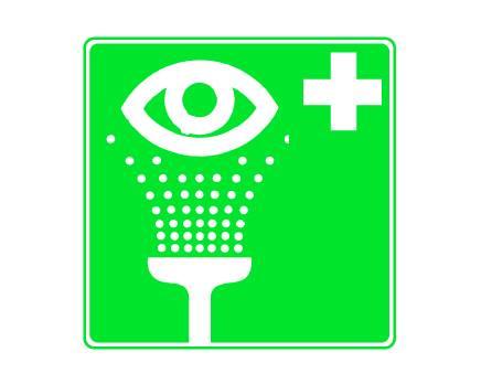 Rettungszeichen Augenspüleinrichtung aus Kunststoff 200x200mm nachleuchtend